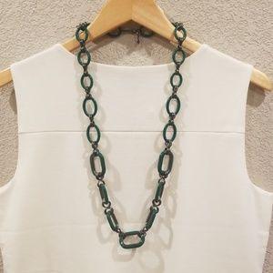 Retro Emerald Green Link Necklace